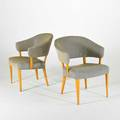 Carl malmsten pair of armchairs sweden 1950s birch and upholstery branded each 29 x 24 x 24