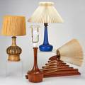 Le klint etc four lamps le klint blue pottery felle helloroe ceramic with geometric design turned wood and teak accordeon wallmounted lamp two marked tallest 20