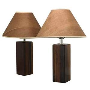 Danish pair of laminated walnut bedside lamps with wood veneer shades 1960s unmarked each including shades 21 34 x 14 dia