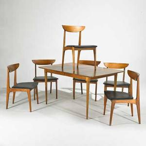 Danish style dining table and six chairs 1960s teak and walnut unmarked table 29 x 54 x 38 two leaves 12 chairs 31 x 21 x 21