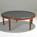 Danish coffee table 1960s teak and honed slate unmarked 15 12 x 41 dia