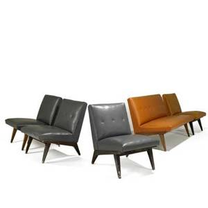 Jens risom knoll associates settee and four lounge chairs usa 1950s leather and stained birch settee fabric label settee 31 x 48 x 30 each chair 30 x 23 x 30