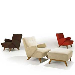 Jens risom knoll associates three lounge chairs and ottoman usa 1950s upholstery and birch each chair 31 x 29 x 32 ottoman 17 x 26 sq