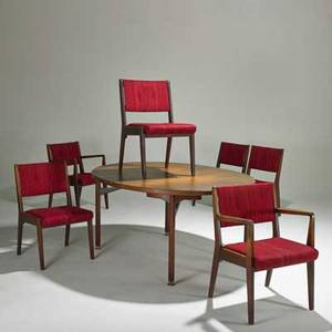 Jens risom jens risom designs inc dining table and six chairs twoarm and sixside teak wool chromed steel unmarked table 28 12 x 60 x 48 2 leaves each 24 armchair 31 12 x 23 x