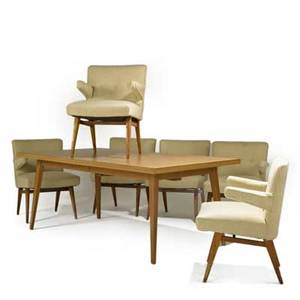 Jens risom knoll associates dining table and set of six dining chairs usa 1950s laminate birch and upholstery unmarked table 29 12 x 73 x 40 one leaf 16 each chair 33 x 25 x 22