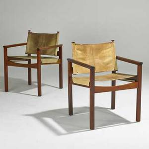 Danish pair of armchairs 1970s rosewood and stitched leather unmarked each 30 12 x 23 x 21