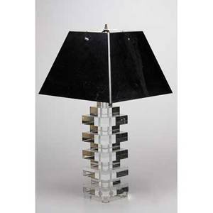 Karl springer attr lucite table lamp with chromeplated steel shade usa 1970s 36 x 17 12