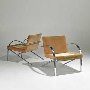 Paul tuttle attr pair of cantilevered lounge chairs usa 1970s chromed steel and upholstery unmarked each 29 x 27 x 31