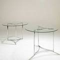 Milo baughman attr design institute america pair of tables usa 1980s chromed steel and glass unmarked each 28 12 x 41 dia