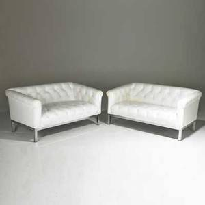 Pace pair of tufted settees italy 1970s leatherette and chromed steel unmarked each 28 x 56 x 34