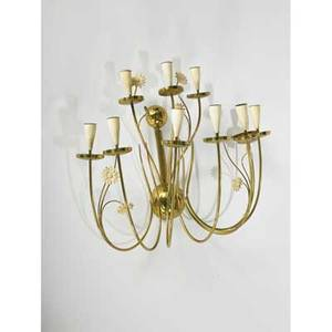 Stilnovo brass tenlight candle sconce with daisy motif marked 20 12 x 24 x 14 12