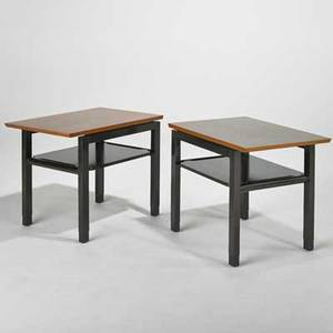 Edward wormley dunbar pair of tiered side tables berne in 1960s walnut ebonized wood and leather one brass label each 22 14 x 28 x 19