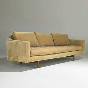 Edward wormley dunbar sofa berne in 1950s mahogany and velvet unmarked 28 x 91 x 37