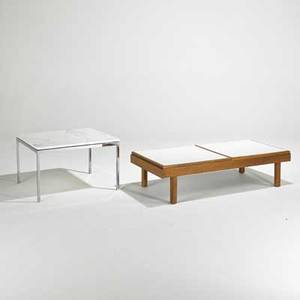 Florence knoll knoll associates end table together with modern coffee table usa 1960s chromed steel marble walnut and laminate unmarked end table 17 x 27 sq coffee table 12 x 49 x 20 1