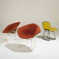 Harry bertoia knoll international pair of diamond chairs together with side chair usa 1970s wool plasticcoated steel and vinyl fabric labels diamond chairs 30 x 33 12 x 27 12 side chai