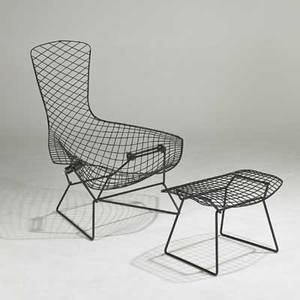 Harry bertoia knoll associates bird chair and ottoman new york 1950s painted metal unmarked chair 39 x 37 12 x 33 ottoman 15 12 x 23 12 x 17