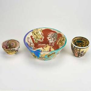 George johnson three polychrome decorated bowls all signed largest 4 x 10 dia