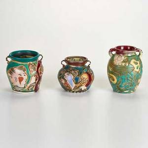 George johnson three polychrome decorated urns all signed largest 6 x 5 dia