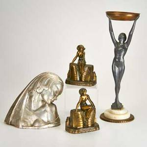 Art deco four pieces kronheim and oldenbush spelter figural bookends plaster bust with silver finish and marble figural nude smoking stand in the style of frankart spelter bookends marked bust si