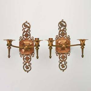 Oscar bach pair of hammered bronze twolight candle sconces marked each 14 12 x 9 12 x 7 12