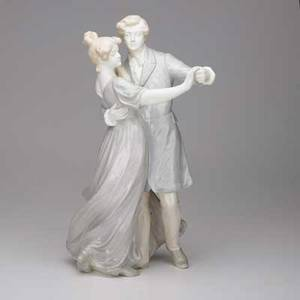 Goldscheider porcelain statue of waltzing young couple austria early 20th c signed 16 x 8 12 x 9