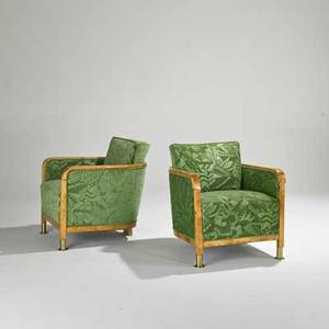 European art deco pair of club chairs 1920s solid maple brass and sculpted mohair unmarked each 28 x 26 12 x 31