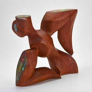 Modern abstract sculpture mid 20th c  carved wood with applied enameled copper bird unmarked 13 34 x 14 x 3