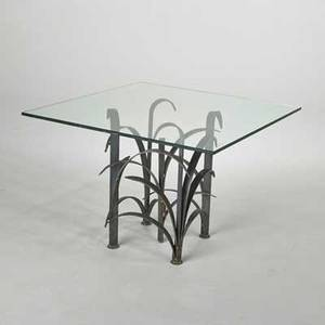 French floriform occasional table 1970s wroughtiron and glass unmarked 24 x 34 sq