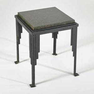 Style of jules bouy side table france 1920s enameled iron and granite unmarked 19 x 15 sq