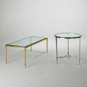 Maison jansen coffee table and occasional table france 1980s brass matte chromed steel and glass unmarked coffee table 17 x 41 12 x 21 12