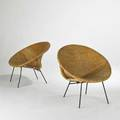 California modern pair of lounge chairs california 1950s woven wicker and enameled wroughtiron unmarked each 31 x 31 x 27