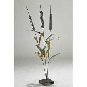 Style of c jere oversized cattail sculpture usa 1970s patinated metal and iron unmarked 72 x 24 dia