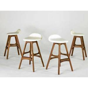 Eric buck four barstools 2000s leather and walnut unmarked each 30 x 15 x 16