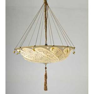 Fortuny parasol chandelier 20th c painted silk silk cord patinated metal and glass beads 40 x 24 dia