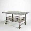 Industrial rolling table usa 1960s zinc and enameled steel unmarked 34 x 32 x 40