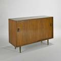 Stanley young glenn of california sliding door cabinet usa 1960s walnut aluminum and painted wood unmarked 33 x 48 x 18