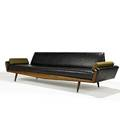 Adrian pearsall craft associates sofa wilkes barre pa 1950s vinyl  wool walnut and brass unmarked 30 x 112 x 31