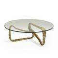 Style of adrian pearsall coffee table usa 1960s anodized aluminum and glass unmarked 14 12 x 42 dia