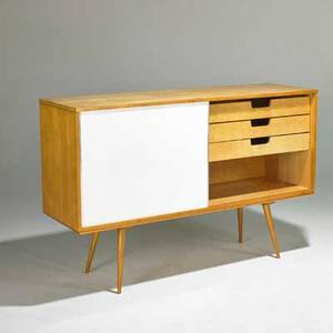 Paul mccobb winchedon planner group cabinet and bench usa 1950s birch enameled masonite and aluminum unmarked 39 x 60 x 18