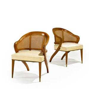 Baker pair of armchairs usa 1950s mahogany cane leather and brass unmarked each 32 x 23 12 x 24