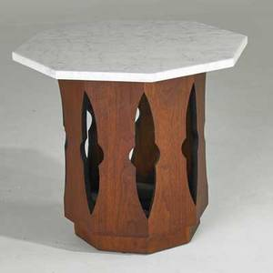 Harvey probber occasional table usa 1960s walnut and marble unmarked 20 x 22 sq