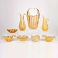 Murano eight glass pieces with gold leaf decoration five biomorphic bowls and three vases one with encased bubbles unmarked largest 12 12 x 9 x 5 12