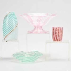 Venini attr four mezza filigrana glass pieces italy two vases one bowl one compote compote 3 x 6 34