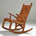 Studio rocking chair cherry and rope signed pompanoosuc dated 2004 40 x 24 x 38