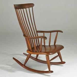 Robert whitley sculpted walnut rocking chair solebury pa inscribed signature 41 x 26 14 x 31 12