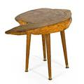 Studio side table usa 1960s slab oak and brass unmarked 19 12 x 26 12 x 16 12