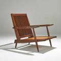 George nakashima walnut cushion chair new hope pa walnut and plywood unmarked 31 x 30 x 34 provenance letter of authentication from mira nakashima