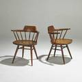 George nakashima pair walnut of captains chairs new hope pa 1960s signed with clients name each 28 x 23 12 x 20 provenance letter of authentication from mira nakashima