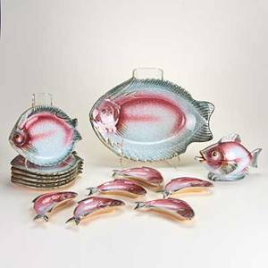 Italian studio pottery fifteen piece fish set platter covered sauce boat with ladle six plates and six bone plates marked plates 9 x 8