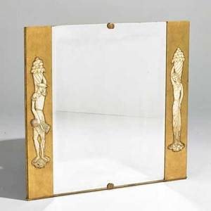 Designer three mirrors 20th c two with gilt wood frames and one italian with figural motif unmarked largest 53 x 43